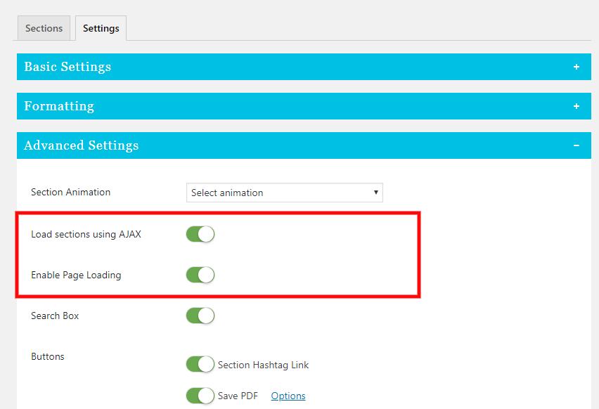 ajax settings