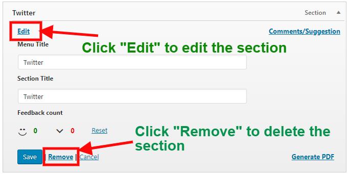 edit and delete