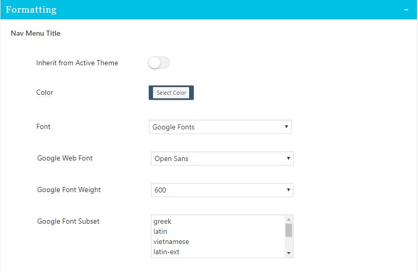 formatting settings