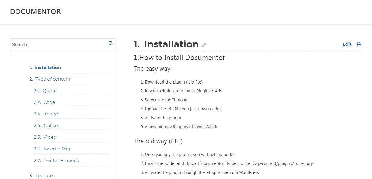 Documentor WordPress Plugin to Create Documentation