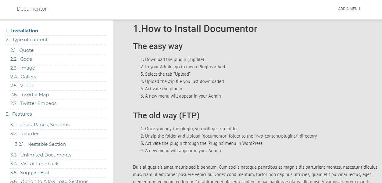 WordPress Plugin to Create Documentation