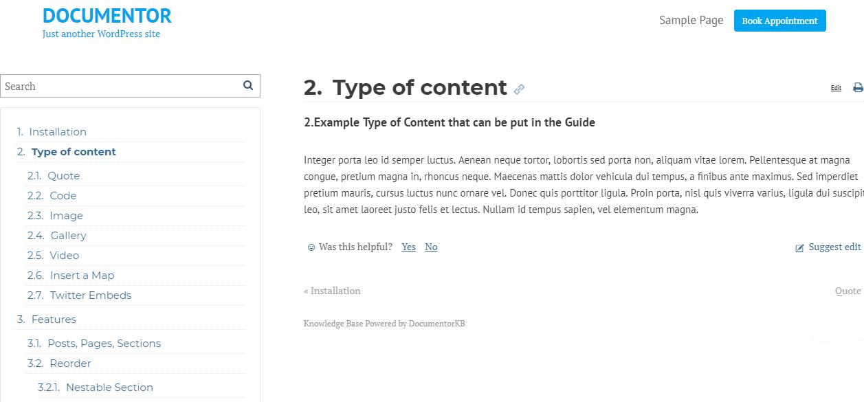 Documentor WordPress Plugin
