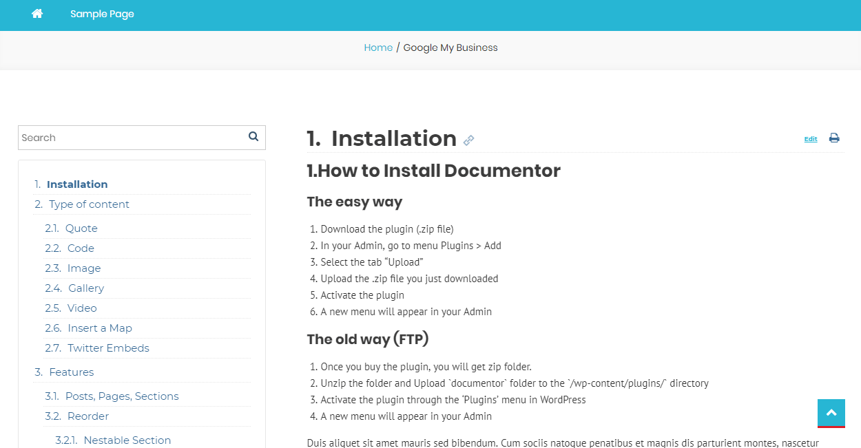 Documentor WordPress Plugin