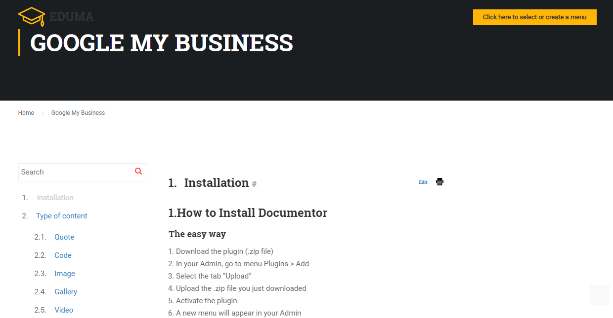 Documentation plugin for WordPress
