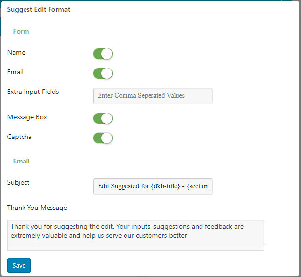 suggest edit options